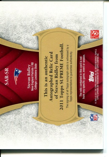 2011 Topps Supreme Autographed Relics Red #SARSR Stevan Ridley back image