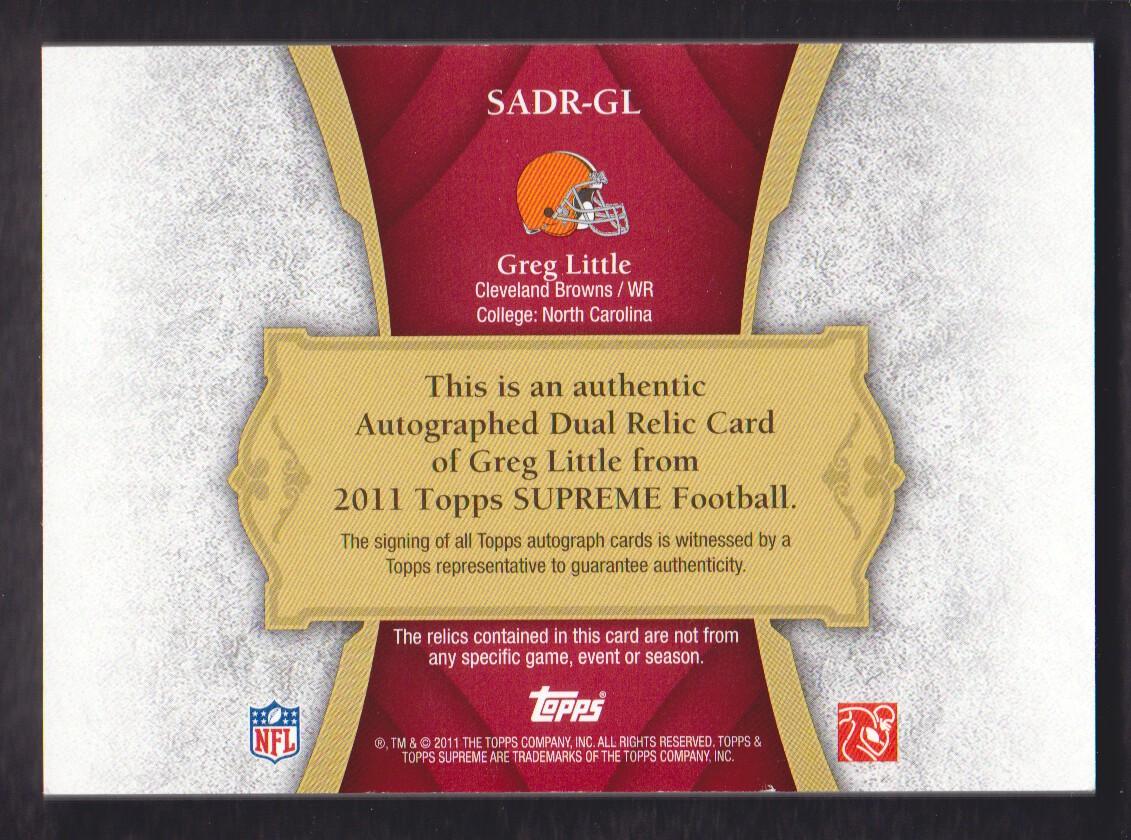 2011 Topps Supreme Autographed Dual Relics Red Patch #SADRGL Greg Little back image