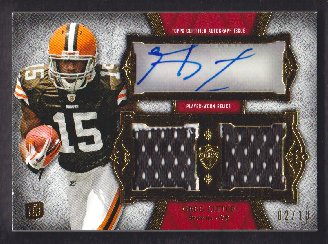 2011 Topps Supreme Autographed Dual Relics Red Patch #SADRGL Greg Little