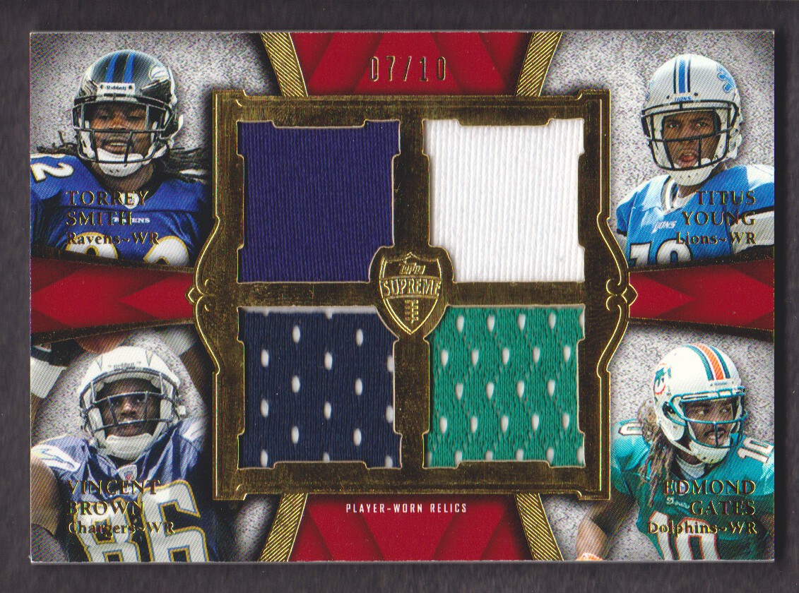 2011 Topps Supreme Rookie Relic Quad Combos Red #SYBG Torrey Smith/Titus Young/Vincent Brown/Edmond Gates
