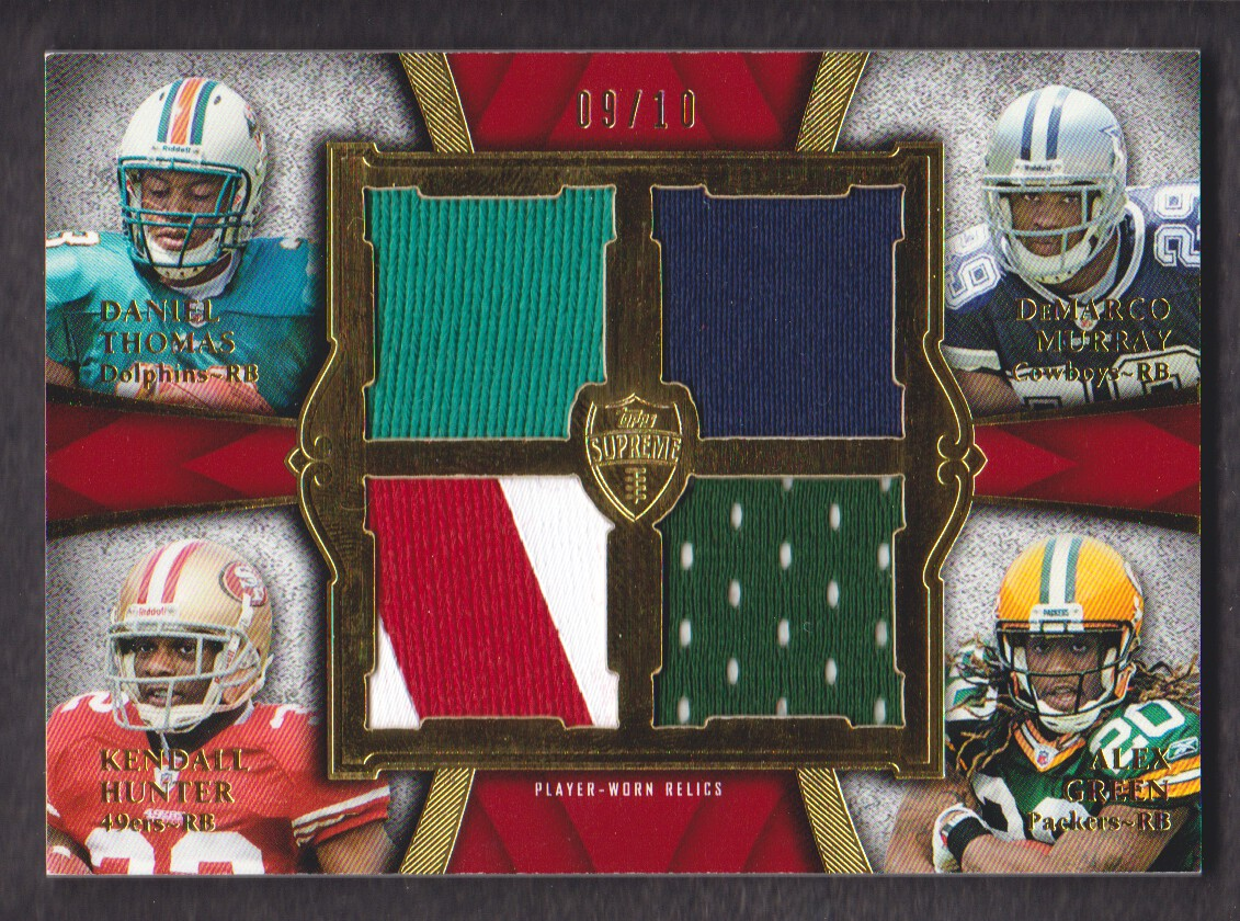 2011 Topps Supreme Rookie Relic Quad Combos Red #TMHG Daniel Thomas/DeMarco Murray/Kendall Hunter/Alex Green