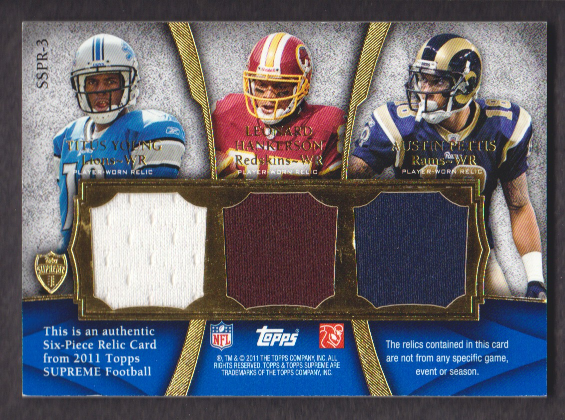 2011 Topps Supreme Six Piece Relics #3 A.J. Green/Torrey Smith/Greg Little/Titus Young/Leonard Hankerson/Austin Pettis back image