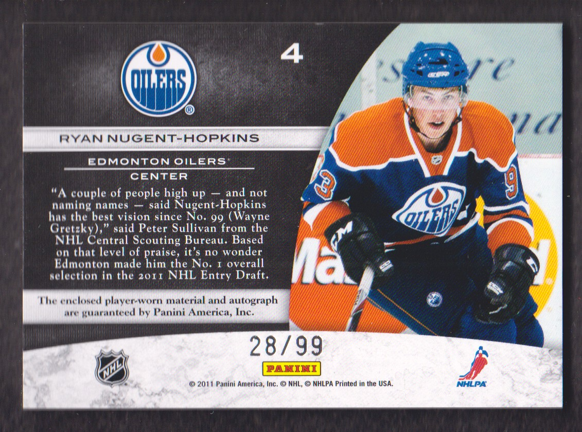 2011-12 Limited Freshmen Jumbo Materials Draft Position Signatures #4 Ryan Nugent-Hopkins/99 back image