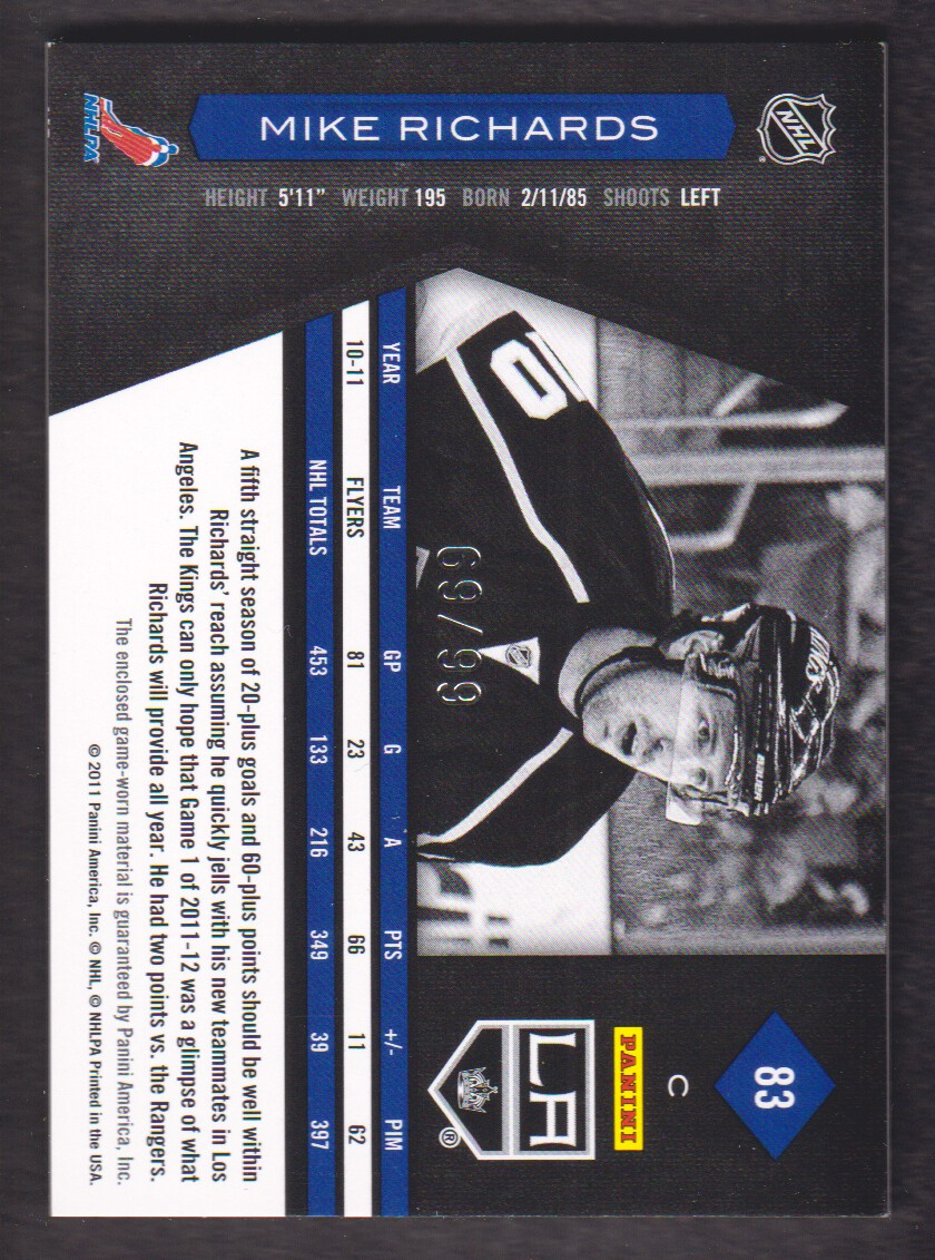 2011-12 Limited Materials #83 Mike Richards/99 back image