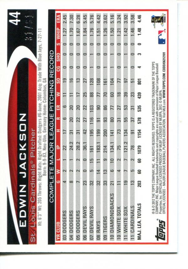 2012 Topps Black #44 Edwin Jackson back image