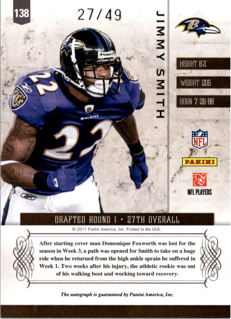2011 Panini Plates and Patches #138 Jimmy Smith AU/49 RC back image