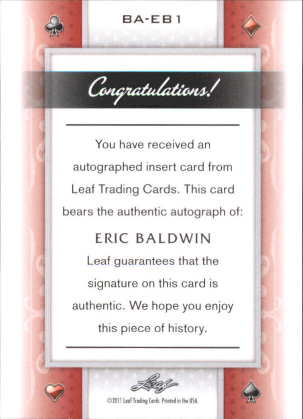 2011 Leaf Poker Hearts #BAEB1 Eric Baldwin/20 back image