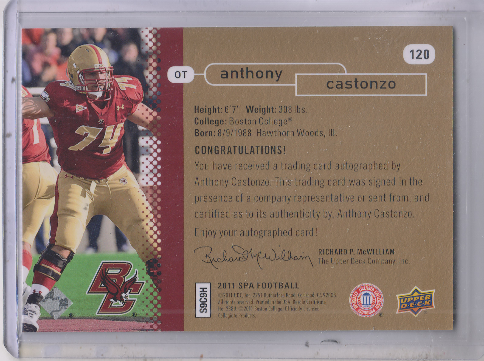 2011 SP Authentic Autographs Gold #120 Anthony Castonzo FW/35 back image