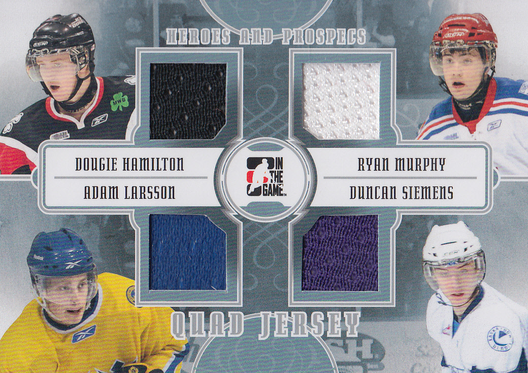 2011-12 ITG Heroes and Prospects Quad Jerseys Silver #QJ08 Dougie Hamilton/Ryan Murphy/Adam Larsson/Duncan Siemens