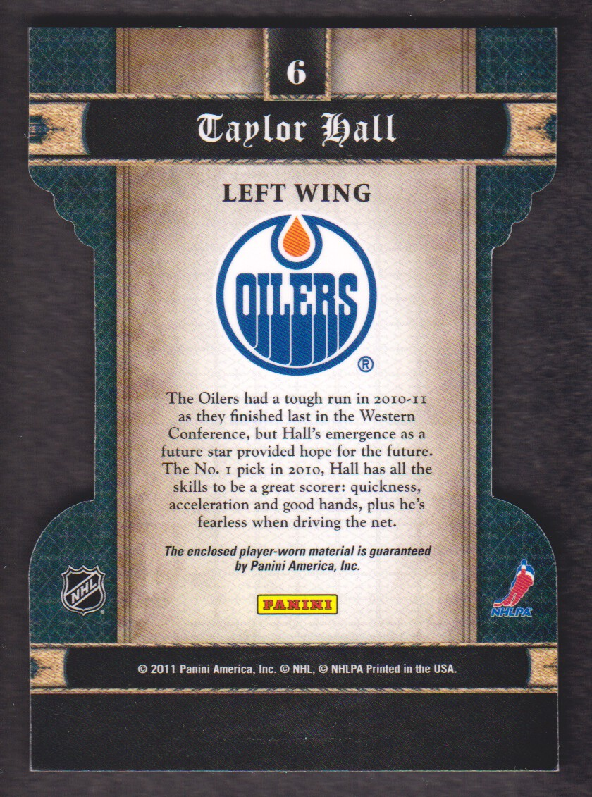 2011-12 Crown Royale Heirs To The Throne Materials #6 Taylor Hall back image