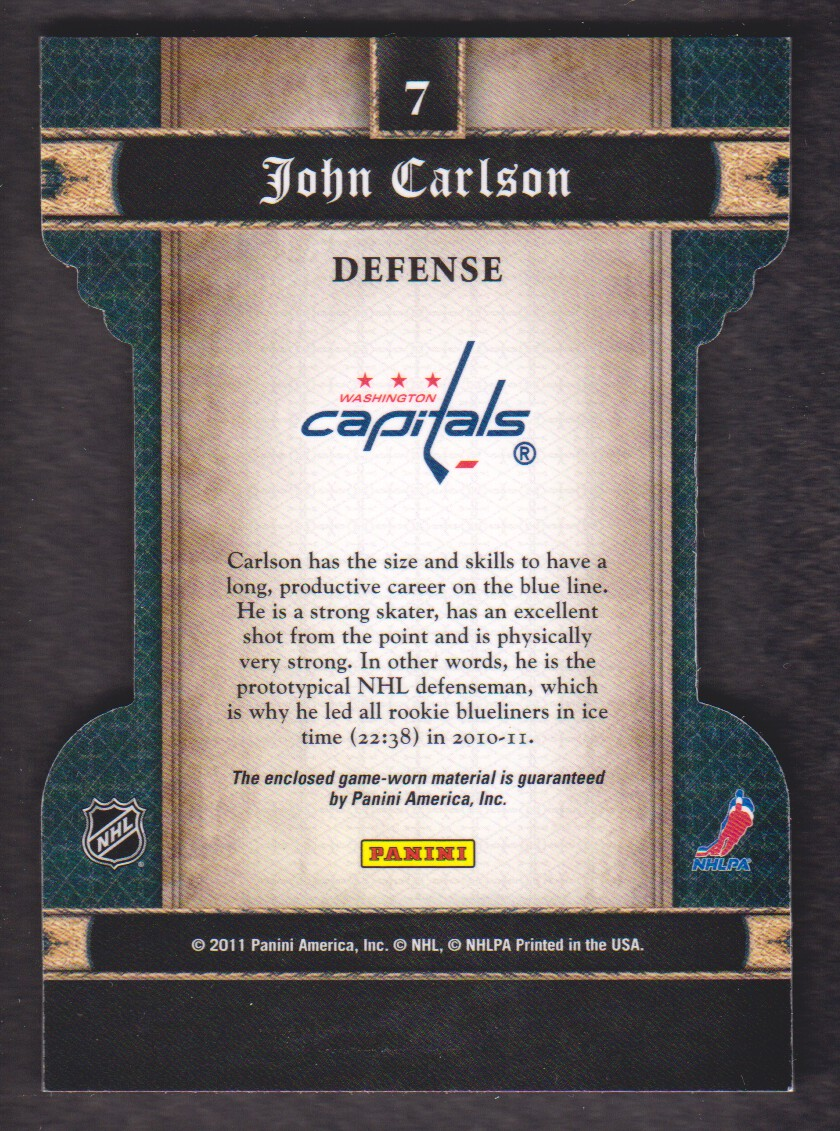 2011-12 Crown Royale Heirs To The Throne Materials #7 John Carlson back image