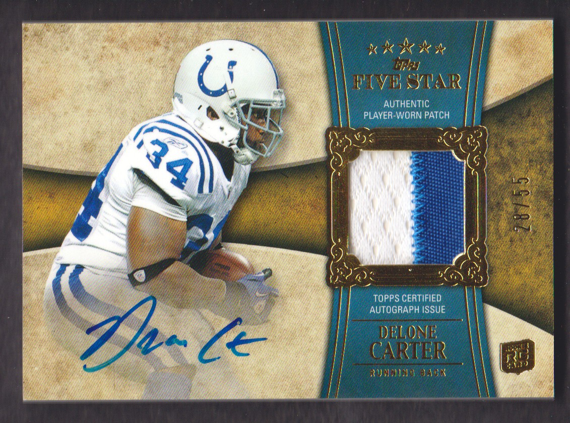 2011 Topps Five Star Rookie Autographed Patch Gold #162 Delone Carter