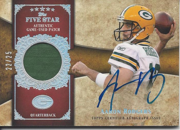 2011 Topps Five Star Veteran Autographed Patch Rainbow #FSSPAR Aaron Rodgers