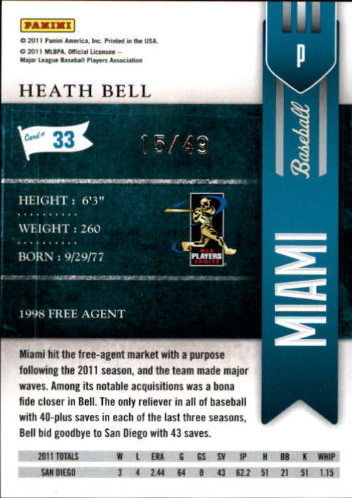 2011 Playoff Contenders Artist's Proof #33 Heath Bell back image