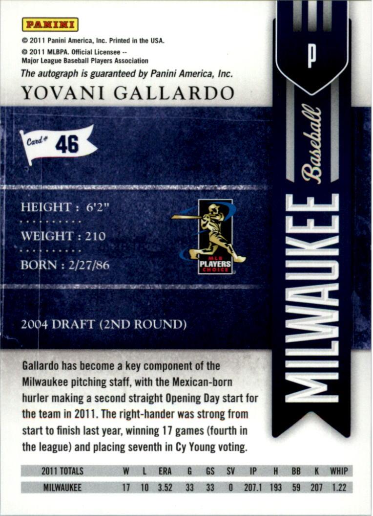 2011 Playoff Contenders Season Ticket Autographs #46 Yovani Gallardo/99 * back image