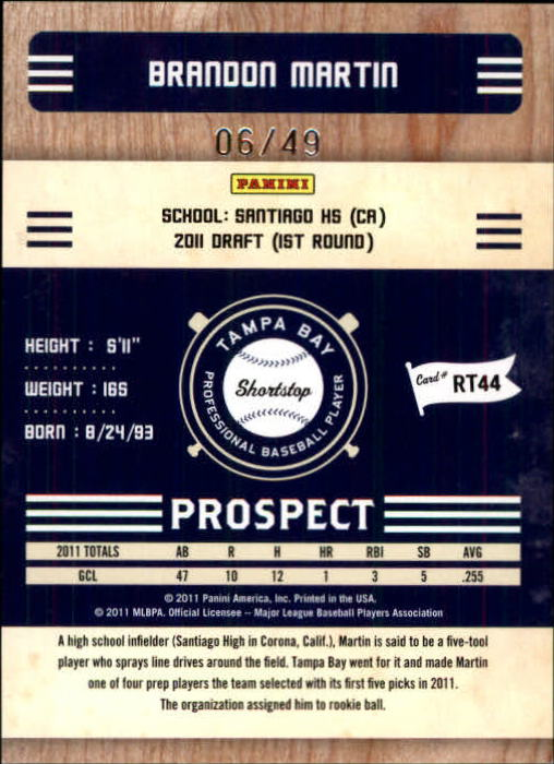 2011 Playoff Contenders Prospect Ticket Artist's Proof #RT44 Brandon Martin back image