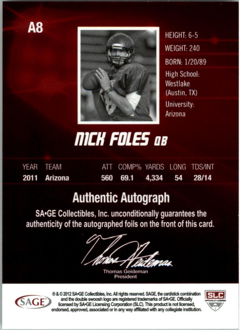 2012 SAGE HIT Autographs Gold #A8 Nick Foles back image
