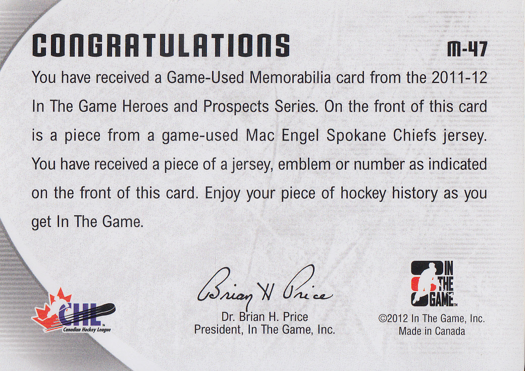 2011-12 ITG Heroes and Prospects Game Used Numbers Silver #M47 Mac Engel back image