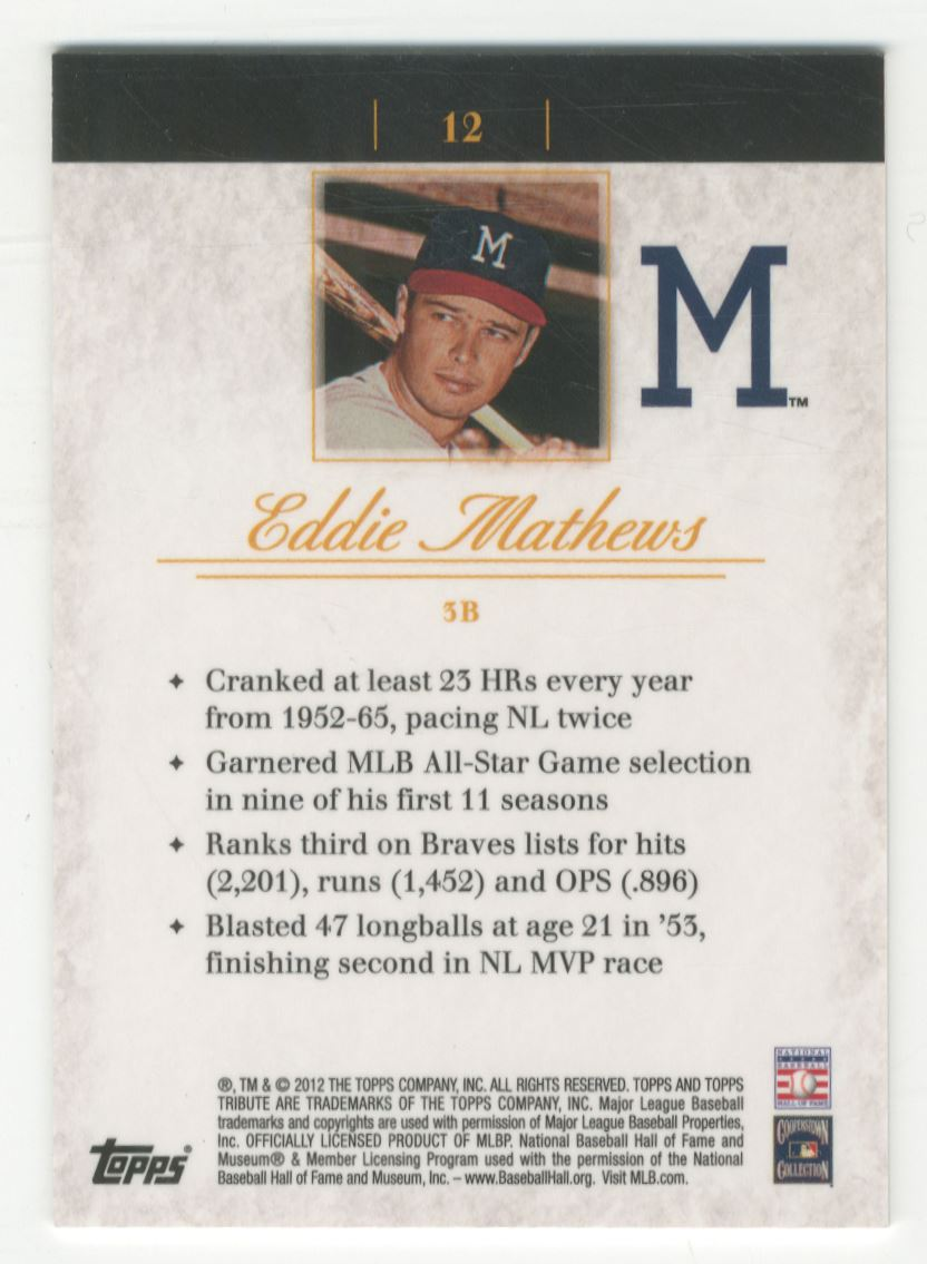 2012 Topps Tribute Black #12 Eddie Mathews back image