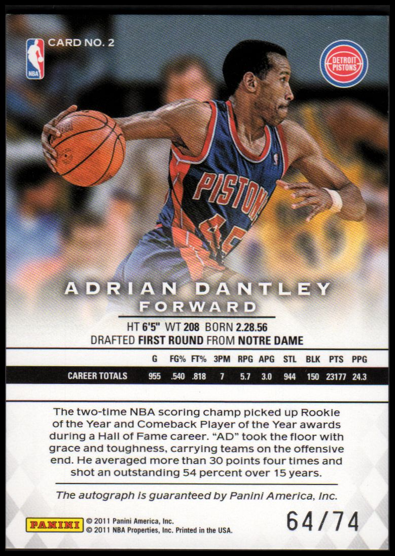 2011-12 Panini Preferred #2 Adrian Dantley PS/74 AU back image