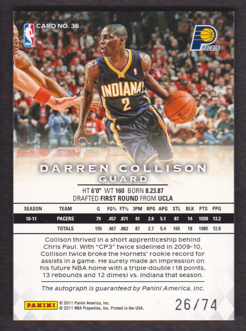 2011-12 Panini Preferred #36 Darren Collison PS/74 AU back image