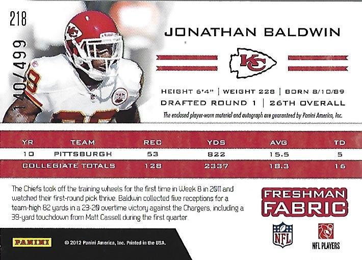 2011 Totally Certified #218 Jonathan Baldwin JSY AU/499 RC back image
