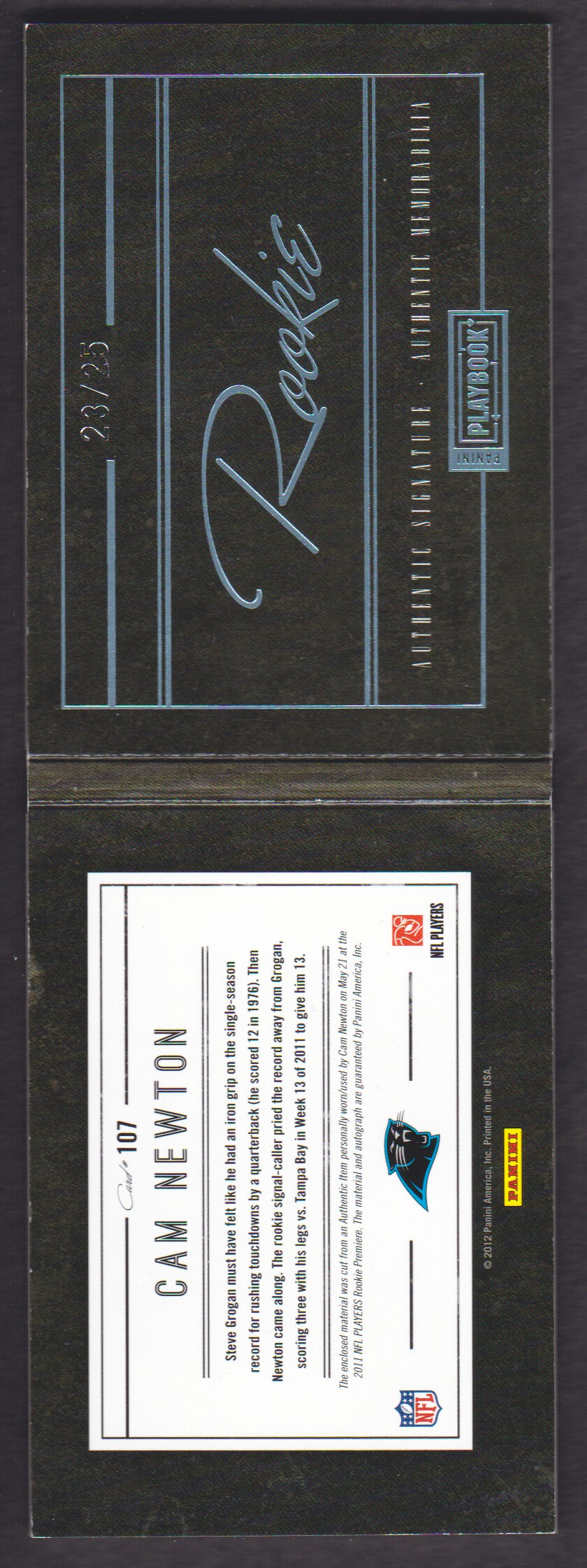 2011 Panini Playbook Platinum #107 Cam Newton JSY AU back image