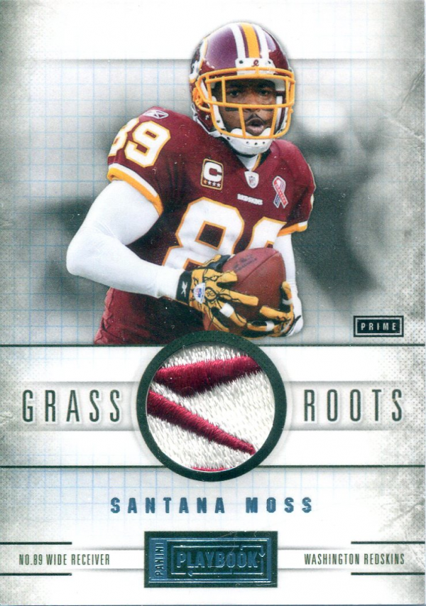 2011 Panini Playbook Grass Roots Materials Brand Logo Prime #51 Santana Moss/3