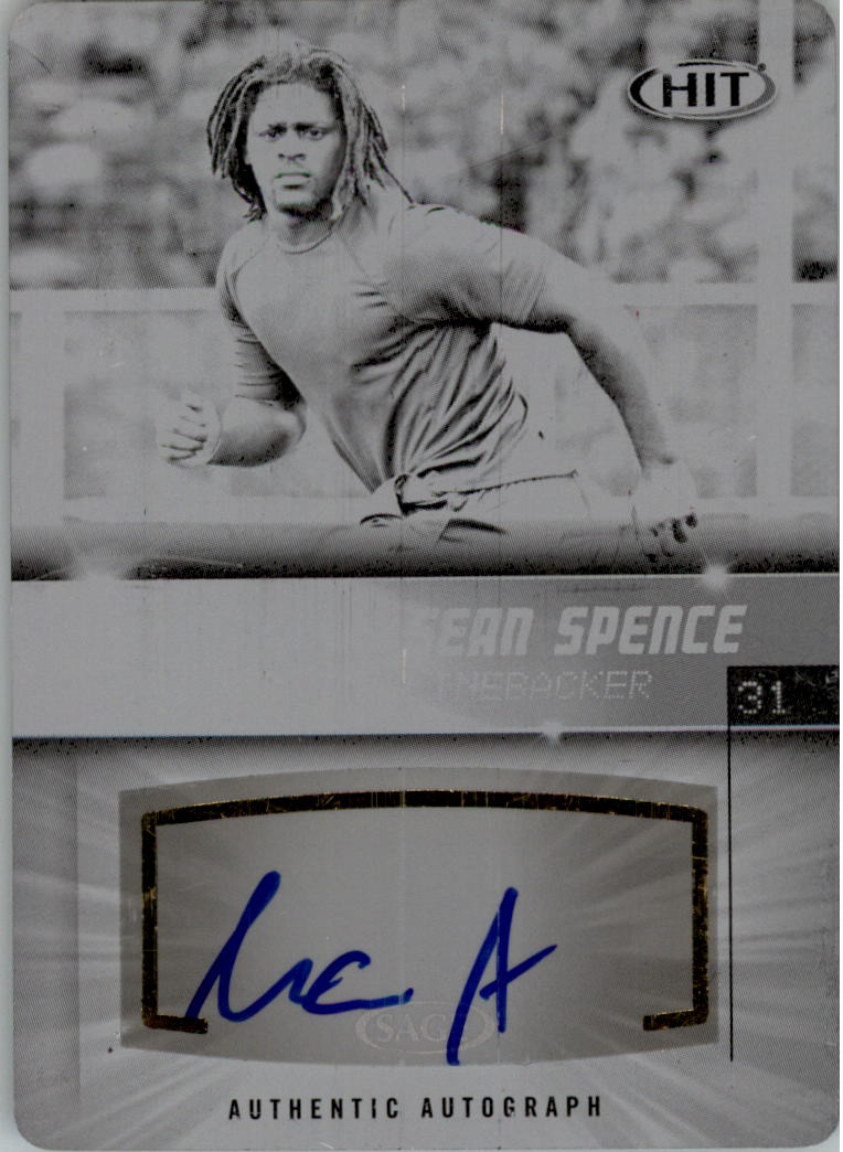 2012 SAGE HIT Autographs Printing Plates Black #A31 Sean Spence