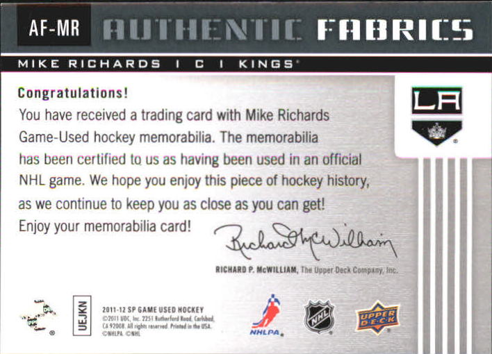 2011-12 SP Game Used Authentic Fabrics #AFMR Mike Richards back image