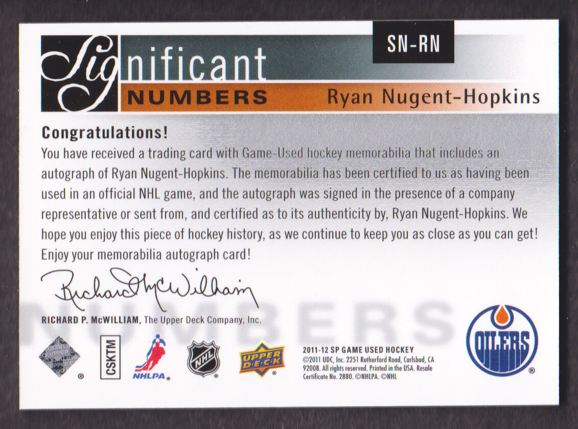 2011-12 SP Game Used SIGnificant Numbers Autographs #SNRN Ryan Nugent-Hopkins/93 back image
