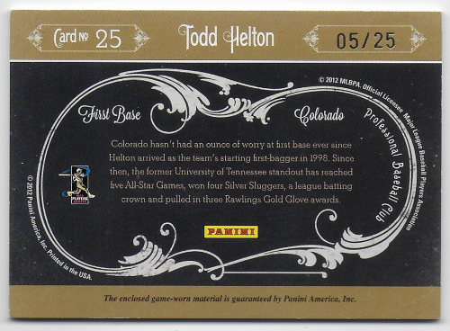 2011 Prime Cuts Icons Materials Combos #25 Todd Helton/25 back image