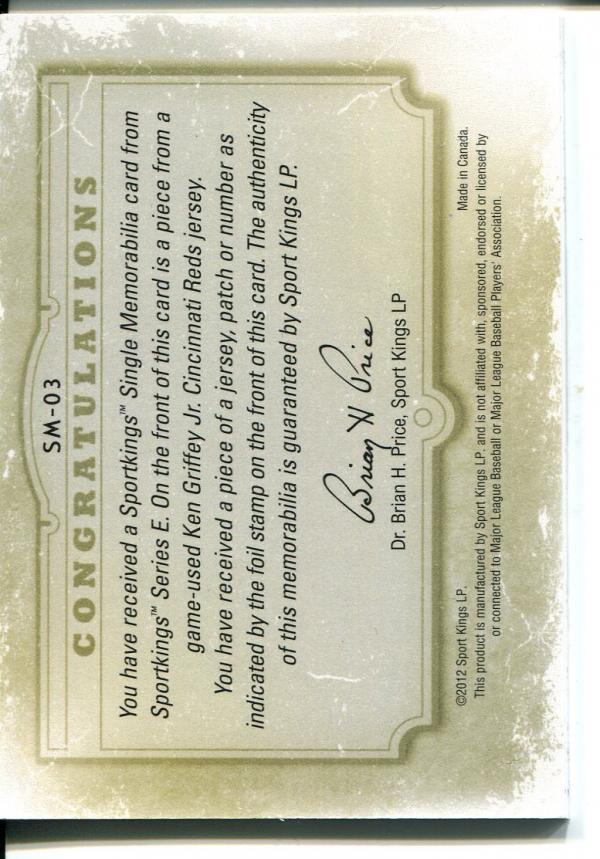 2012 Sportkings Single Memorabilia Silver #SM3 Ken Griffey Jr. back image