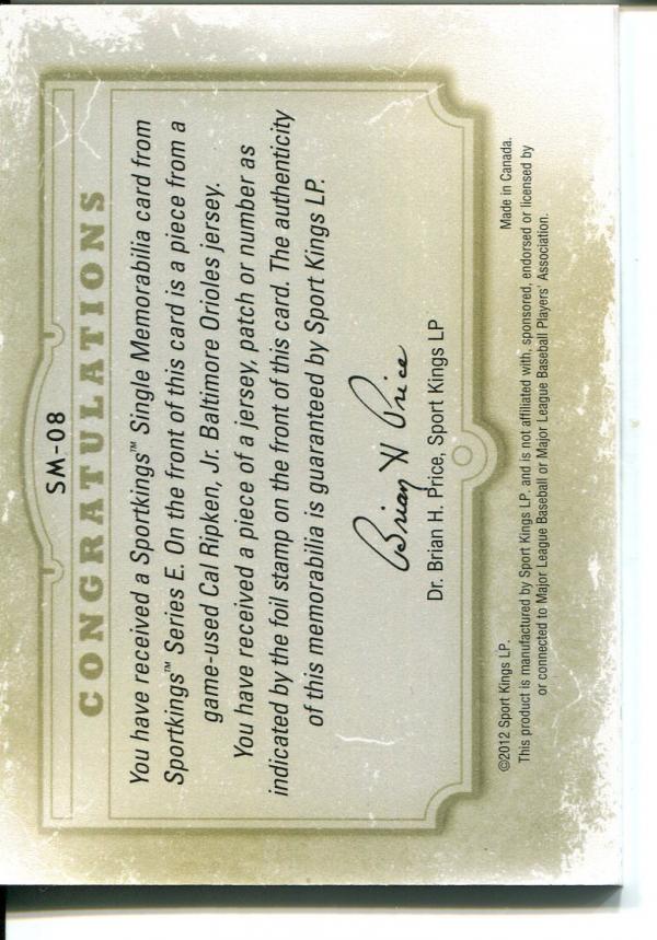 2012 Sportkings Single Memorabilia Silver #SM8 Cal Ripken Jr. back image