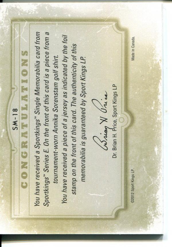 2012 Sportkings Single Memorabilia Silver #SM18 Annika Sorenstam back image