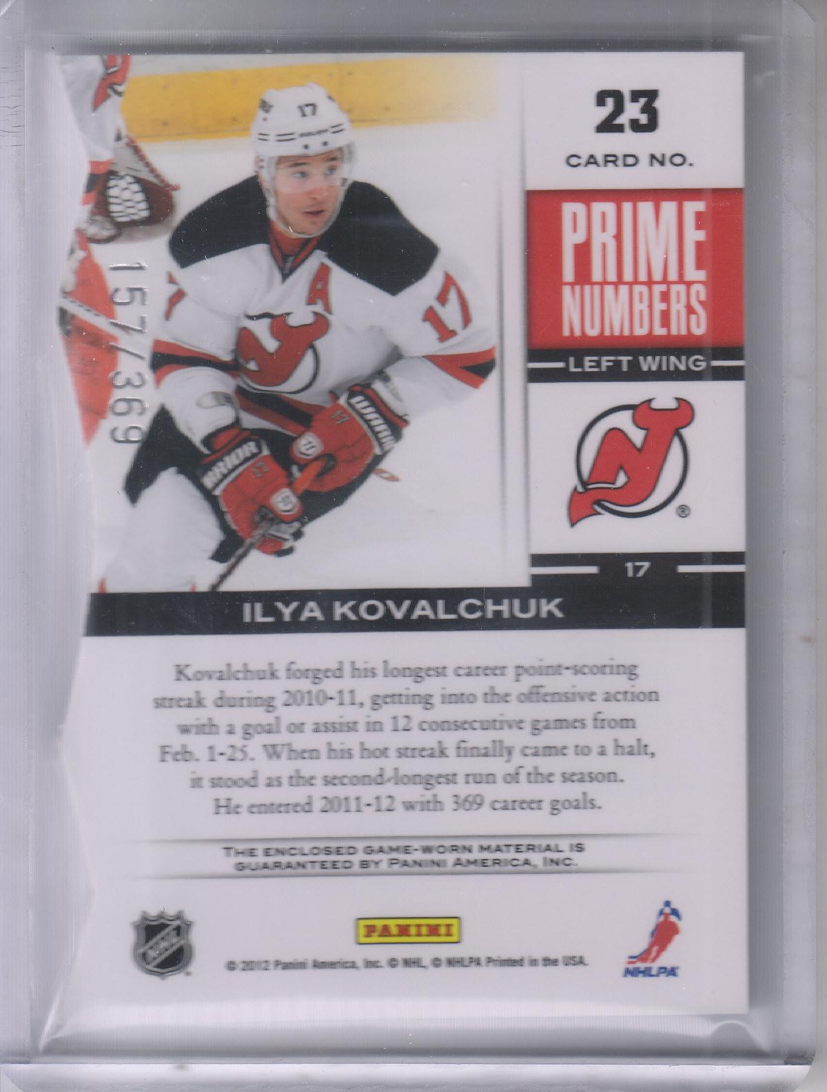 2011-12 Elite Prime Number Jerseys #23 Ilya Kovalchuk/300* back image