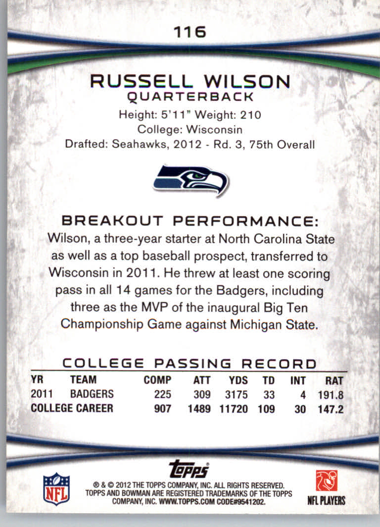 2012 Bowman #116A Russell Wilson RC/set to pass back image