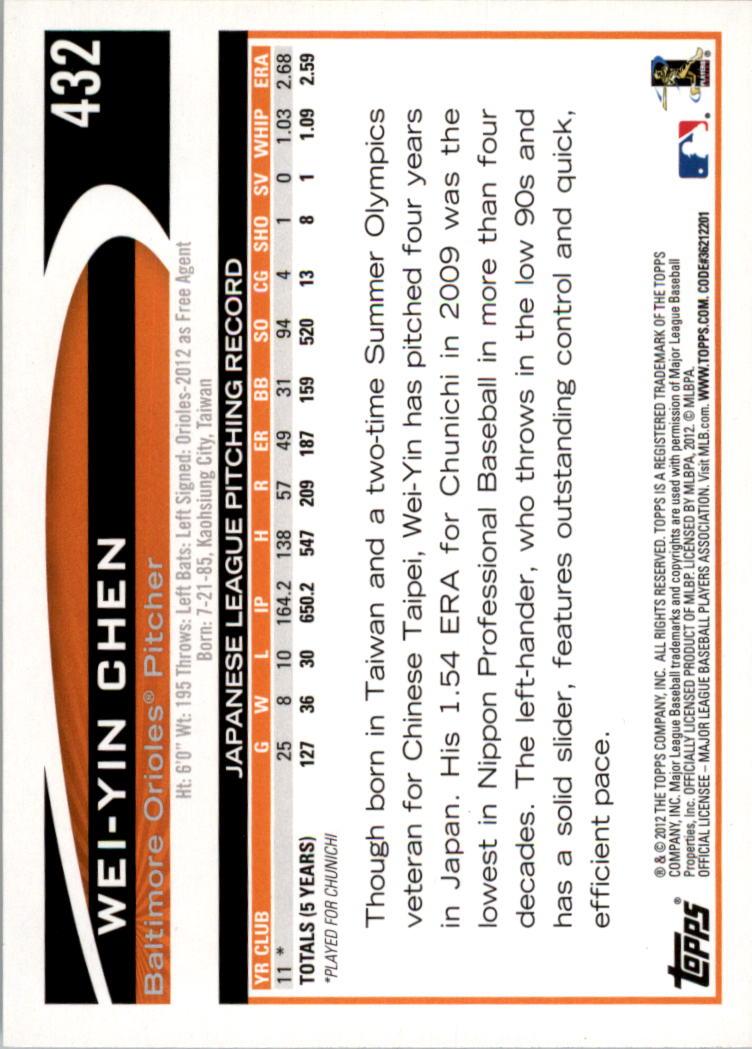 2012 Topps #432 Wei-Yin Chen RC back image