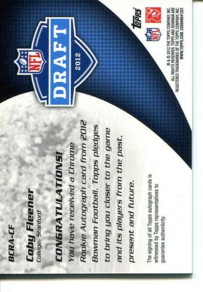2012 Bowman Rookie Team Helmet Autographs Red Ink #BCRACF Coby Fleener back image