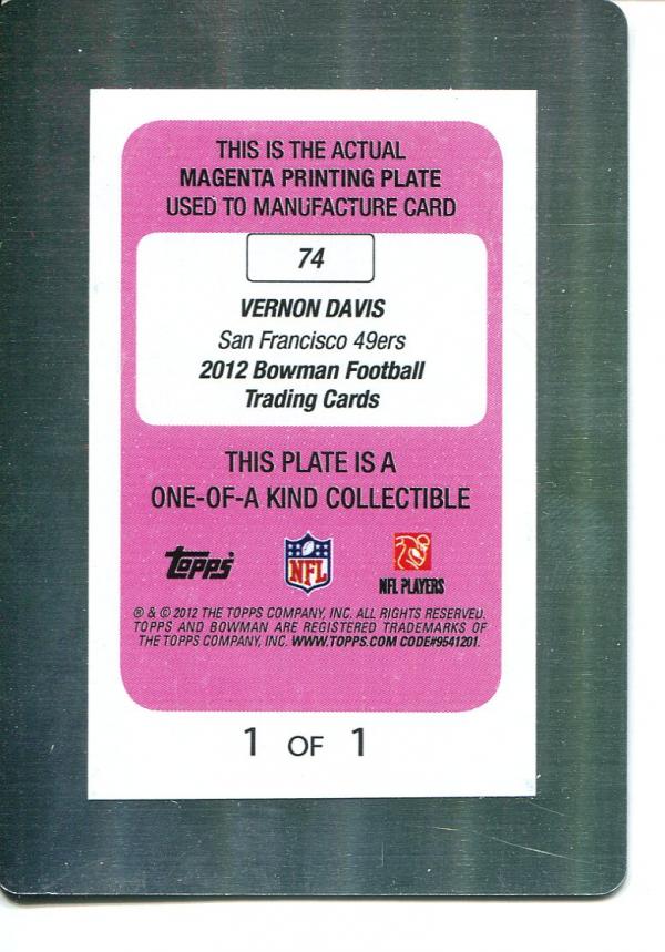2012 Bowman Printing Plates Magenta #74 Vernon Davis back image