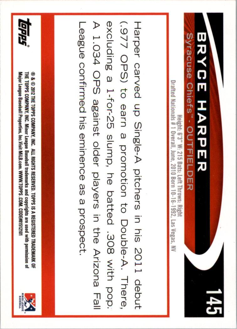 2012 Topps Pro Debut #145 Bryce Harper back image