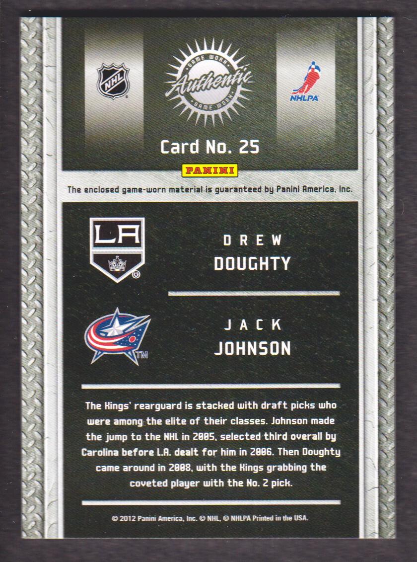 2011-12 Panini Titanium Game Worn Gear Dual Memorabilia #25 Drew Doughty/Jack Johnson/300 back image