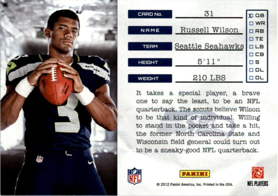 2012 Prestige NFL Draft Tickets #31 Russell Wilson back image