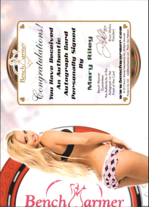 2012 Bench Warmer Vegas Baby Autographs Green Foil #32 Mary Riley back image
