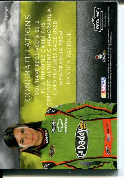 2012 Press Pass Redline Full Throttle Dual Relic Silver #FTDP Danica Patrick Cup/25 back image