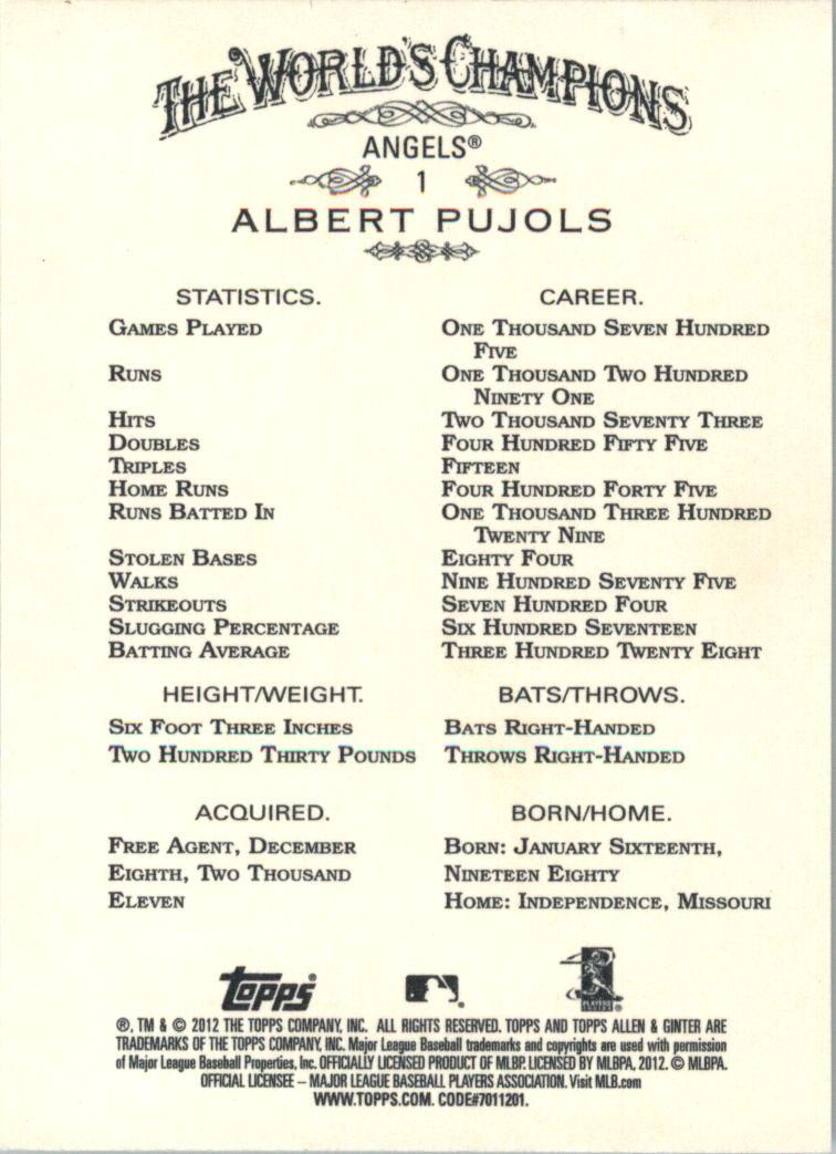 2012 Topps Allen and Ginter #1 Albert Pujols back image