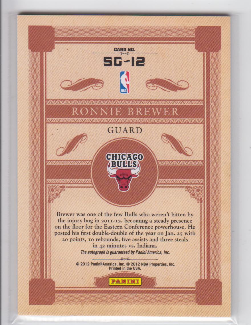 2011-12 Panini Gold Standard Signs of Gold #12 Ronnie Brewer/149 back image