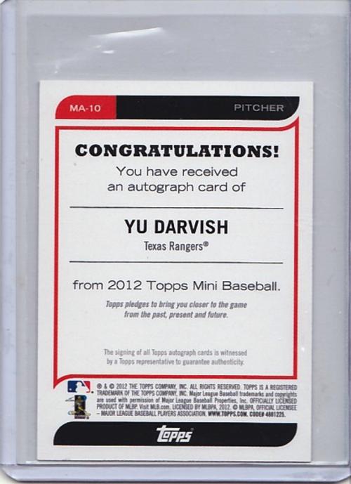 2012 Topps Mini Autographs #MA10 Yu Darvish back image