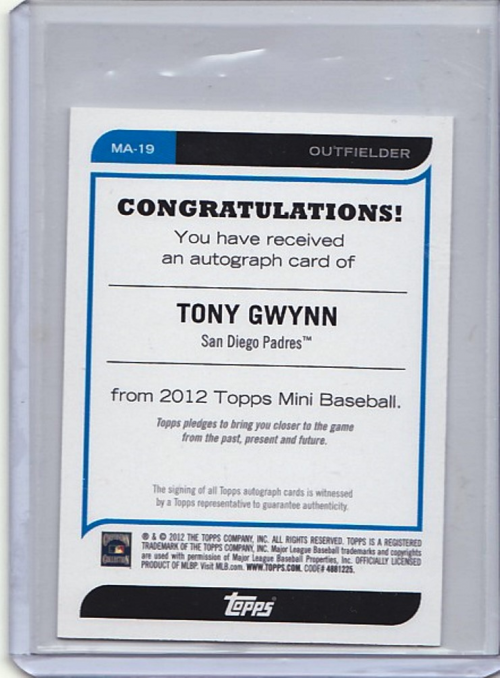2012 Topps Mini Autographs #MA19 Tony Gwynn back image