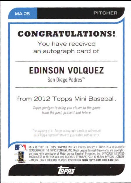2012 Topps Mini Autographs #MA25 Edinson Volquez back image
